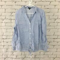 Jones New York NEW Women's Large Light Blue Long Sleeve Button Down Shirt NWOT