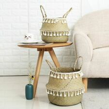 Handmade Bamboo Storage Baskets Seagrass Wicker Basket Garden Flower Pot Laundry