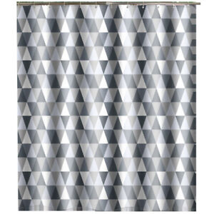 180x180cm Grey Geometric Waterproof Bathroom Fabric Shower Curtain Thick Long