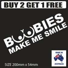 BOOBIES MAKE ME SMILE JDM CAR STICKER DECAL Drift Turbo Euro Fast