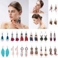 Vintage Multicolor Tassel Feather Bead Drop Dangle Earrings Women Jewelry