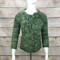 Anthropologie Sleeping on Snow Green Wool Mohair Cardigan Sweater Applique - S/P