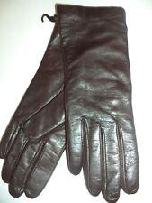 Grandoe 100% Cashmere Lined Leather Gloves,Brown, Large
