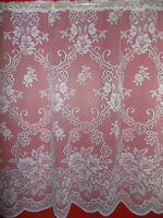 WHITE FLORAL NET CURTAIN - PRICE PER METER - SUITABLE FOR ANY ROOM