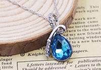 925 Sterling Silver Swarovski Crystal Angel Tears Drop Water Pendant Necklace