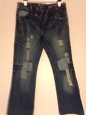 575  Mens RELAXED Classic Button Fly Denim Jeans Dark distressed patched W33 L32