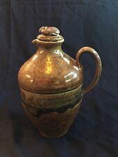 Burr Oak Pottery Ephraim Faience interest Lidded oil jar beetle creature