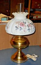 BRASS B&H OIL LAMP GONE WITH THE WIND GLASS TABLE LAMP FENTON FLOWERS SHADE 110V