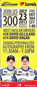 2013 David Ragan/David Gilliland Love's Lenoir City, TN NASCAR handout