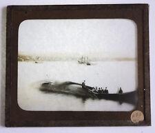 PHOTO ANCIENNE CHASSE A LA BALEINE Pays inuit Plaque verre lanterne magique