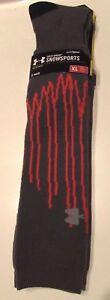 NWT Under Armour CG Men's X-Large (13-16) 1 Pair Grey Orange Snowsports Socks