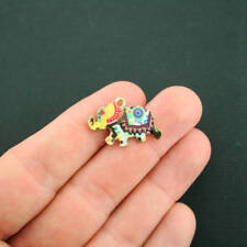 5 Elephant Charms Gold Plated Enamel Fun and Colorful E324