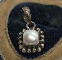 Vintage Sterling Silver Necklace 925 Pendant Pearl