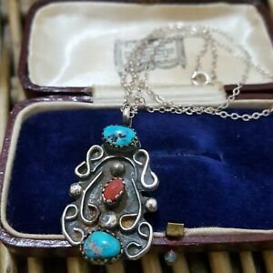 Natural Turquoise and Coral Vintage Sterling Silver Necklace, Native Design