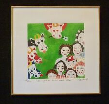 """Signed KIKI Suarez Etching """"Let's get to know each other"""" 1996 500 ed  SO CUTE!"""
