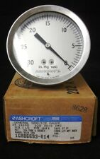 Ashcroft, General Serivice Gauge, 30-0 In. Hg vac, 1/4 npt back, Made Inthe Usa