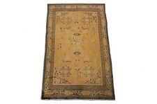 Vintage Tibetan Rug Hand Knotted Carpet 100% Wool 5'x9' Gold Circa 1960