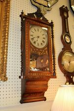 Gorgeous Victorian Satinwood Walnut English Wall Clock C1870s