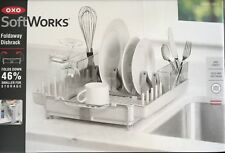 OXO SoftWorks Foldaway Dishrack with Spout, Legs, Tines & Compact Storage