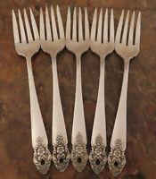 Oneida Distinction 5 Salad Forks Prestige Vintage Silverplate Flatware Lot C
