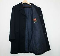 90s Vintage TURO FINLAND Wool Coat Overcoat Dark Navy Stripped Mens EU 50 UK 40