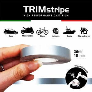 Trim Stripes Strisce Adesive per Auto, Argento, 10 mm x 10 Mt