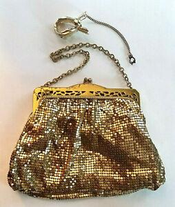 "VTG Evening Bag Purse WHITING & DAVIS Gold Mesh Metallic Brass Handbag 7x5"" #3"