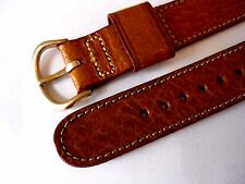 vintage mens NOS pigskin leather watch band  BULOVA signed 10k yellow gold fill