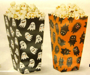 12 POPCORN BOXES SWEETS HALLOWEEN PARTY PARTIES GHOST BAG TREAT MOVIE EMOJI