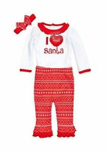 "NURSERY RHYME Baby 6M ""I Love Santa"" Christmas 3-Pc. Leggings Set NWT"