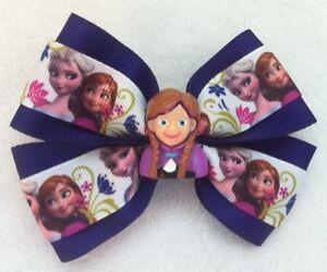 "Girls Hair Bow 4"" Wide Frozen Elsa & Anna Purple Ribbon French Barrette #2"