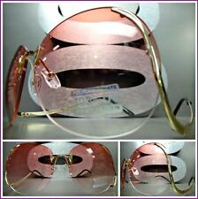 OVERSIZE VINTAGE RETRO Style SUNGLASSES Upside Down Rimless Gold Frame Pink Lens
