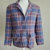Womens Vintage PENDLETON Jacket Blue Plaid 100% Virgin Wool See Measurements