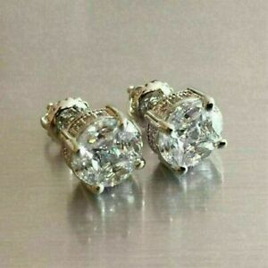 2.00Ct Round-Cut VVS1 Diamond Antique Vintage Stud Earrings 14K White Gold FN