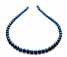 Pacific Pearls® AAA 7-7.5mm Japanese Akoya Saltwater Black Pearl Necklace