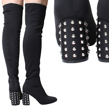 New Ladies Womens Over The Knee Wide Stretch Suede High Studs Spikes Heel Boots