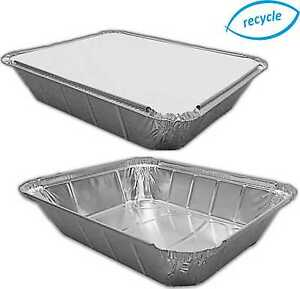 """Large Deep Foil Trays & Optional Lids 12½"""" X 10½"""" X 2½"""" Gastro Containers Dishes"""