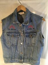 Gina Ginori Boulder CO Small Blue Jean Vest Rodeo Western Horse 100% Cotton S
