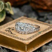 Vintage Retro Engagement Wedding Filigree Ring 14K White Gold Over 2.9Ct Diamond