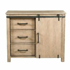 Home Fare Farmhouse Style Distressed Driftwood Sliding Door Chest