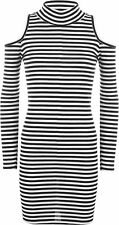 Polyester Machine Washable Casual Striped Dresses for Women