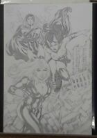 "Original Comic Art of Marvel's Black Widow, Storm & Scarlet Witch 17""X11"" Pencil"