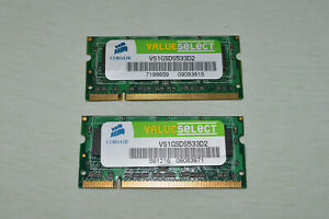 2x Corsair 1 GB SO-DIMM 533 MHz DDR2 SDRAM Memory VS1GSDS533D2 SODIMM 2GB total