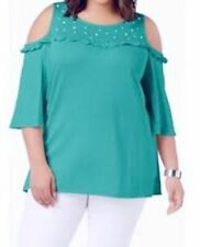 Ny Collection Plus Size Turquoise Cold-Shoulder Faux-Pearl Studded Top