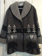 Women's Gallery Brand Gray Bear Patterned Wool Coat Heavy, Size Large
