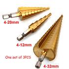 3pcs Large HSS Steel Step Cone Drill Titanium Bit Set Hole Cutter 4-12/20/32mm