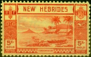 New Hebrides 1938 5F Red-Yellow SG62 Fine Very Lightly Mtd Mint