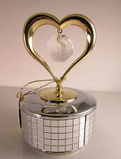 Music Box Love Story White Heart with Swarovski Crystals Fitted Gold Plated