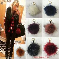 Exter Large 15cm Faux Fur Ball Pom Pom Charm Handbag Phone Pendant Keyring UK