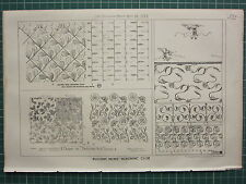 1877 DATED ARCHITECTURAL PRINT ~ VARIOUS DESIGNS FOR BEDROOM WALL PAPER